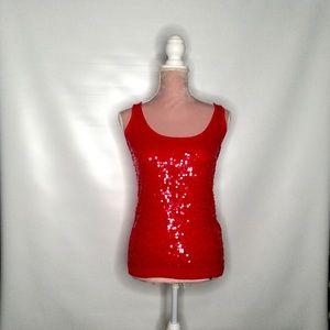 Armani Exchange red embellished sleeveless top